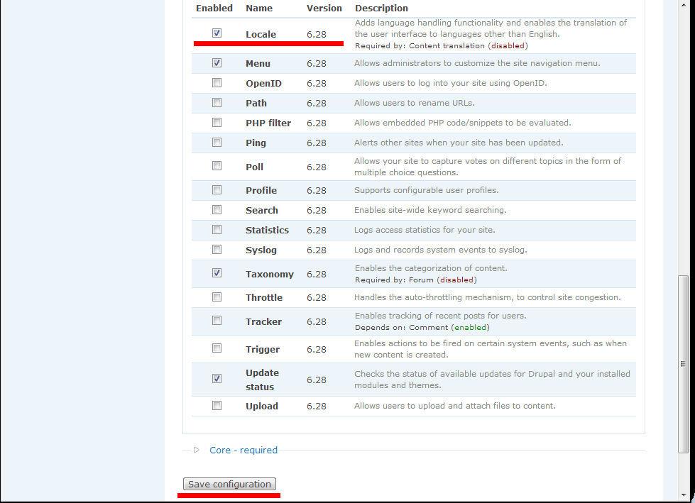 Zmiana języka Drupal-a na polski - krok 3