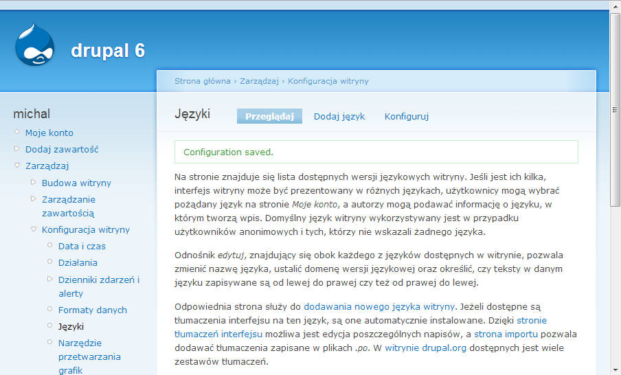 Zmiana języka Drupal-a na polski - krok 6
